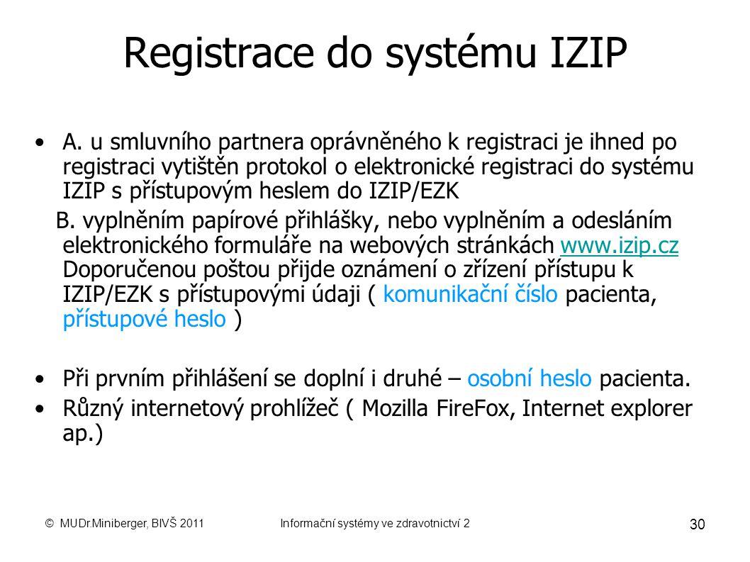© MUDr.Miniberger, BIVŠ 2011Informační systémy ve zdravotnictví 2 29 Elektronická zdravotní knížka Elektronick á zdravotn í kn í žka ( EZK ) IZIP je v
