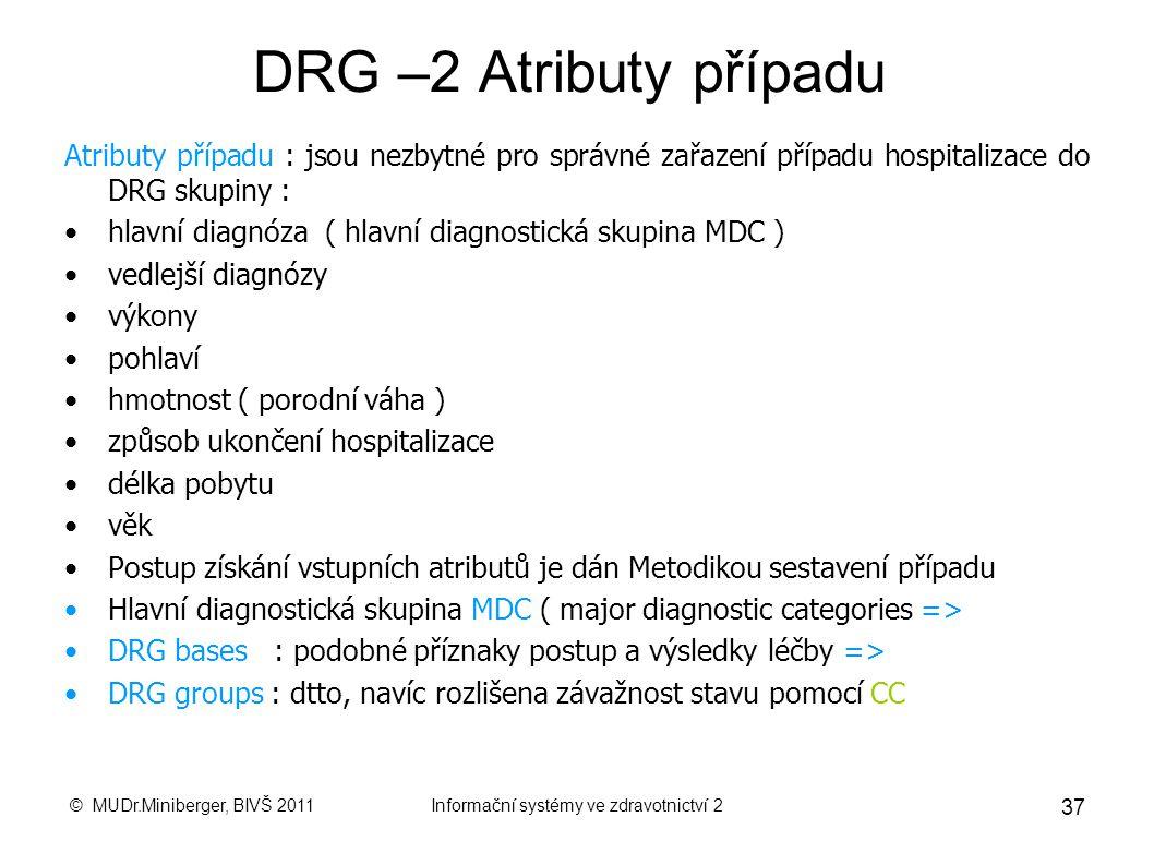 © MUDr.Miniberger, BIVŠ 2011Informační systémy ve zdravotnictví 2 36 DRG – základní pojmy DRG skupina : skupina případů hospitalizace klinicky a ekono