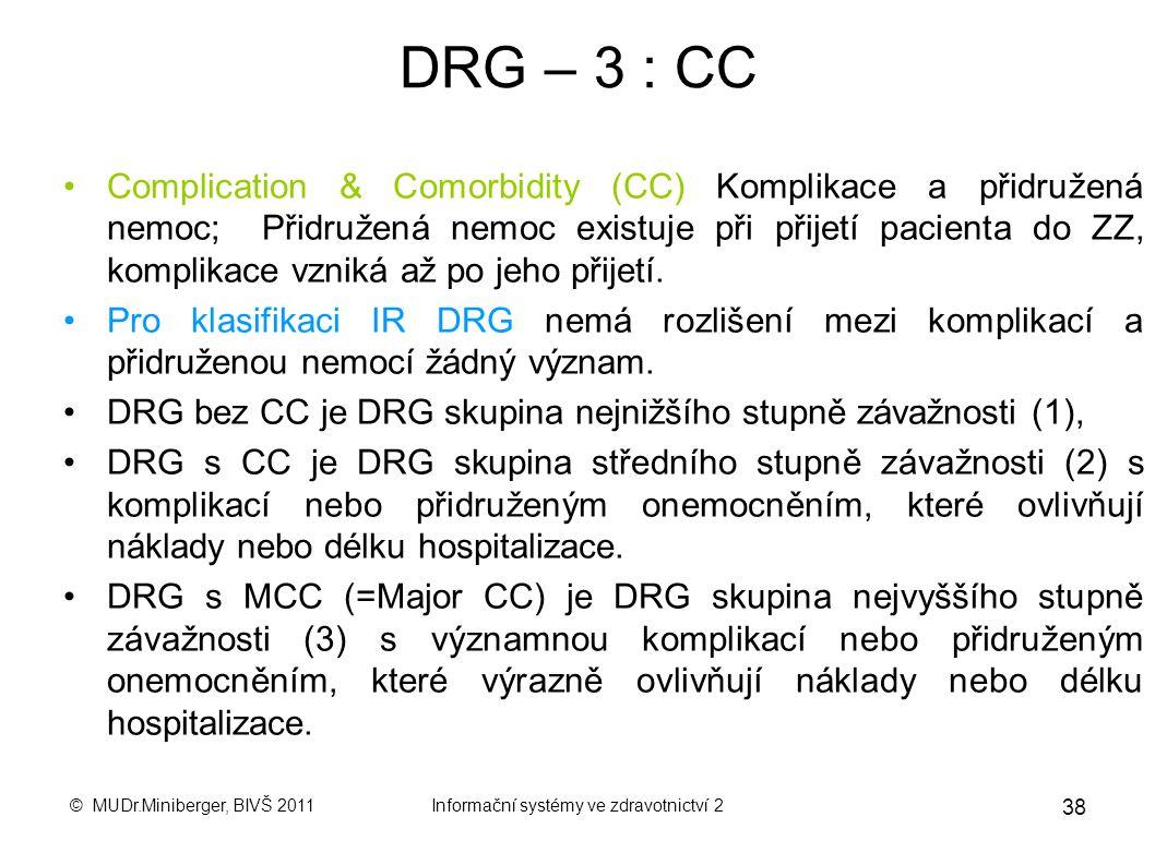 © MUDr.Miniberger, BIVŠ 2011Informační systémy ve zdravotnictví 2 37 DRG –2 Atributy případu Atributy případu : jsou nezbytné pro správné zařazení pří
