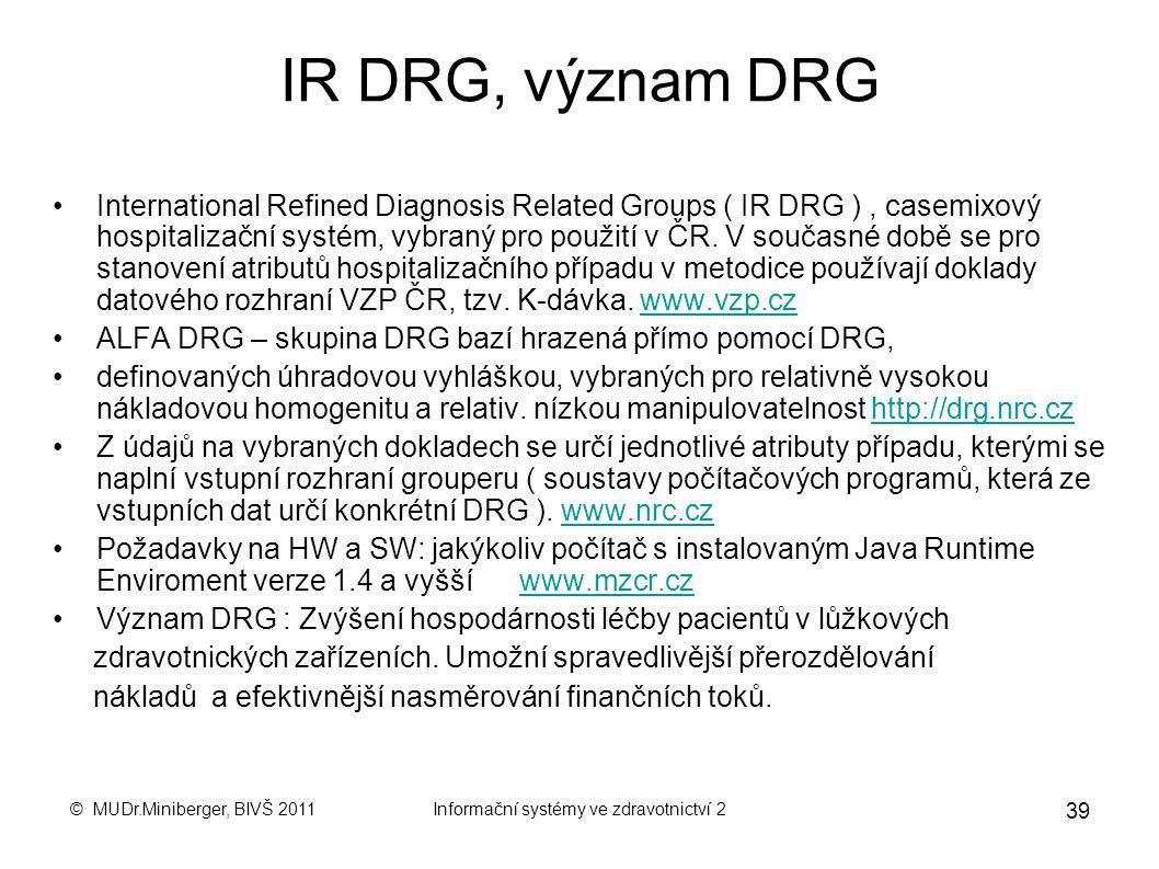 © MUDr.Miniberger, BIVŠ 2011Informační systémy ve zdravotnictví 2 38 DRG – 3 : CC Complication & Comorbidity (CC) Komplikace a přidružená nemoc; Přidr