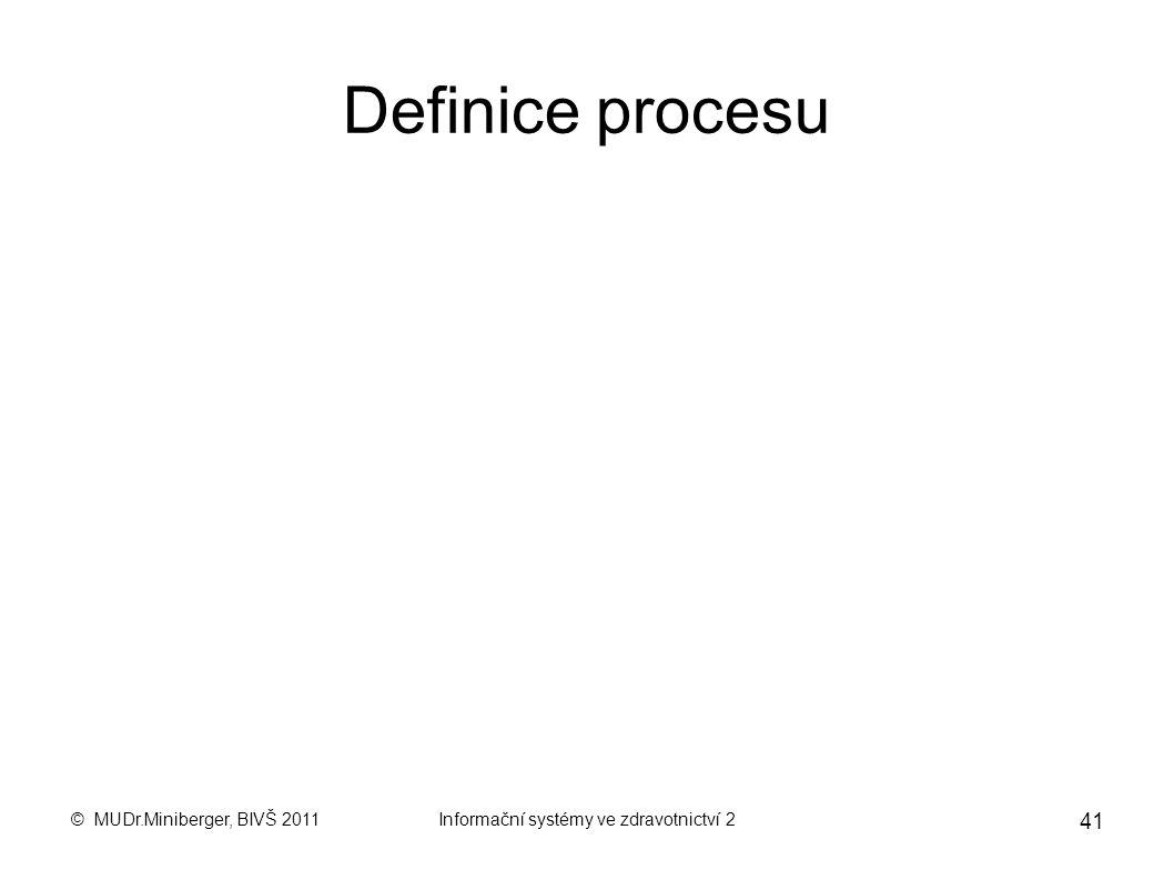 © MUDr.Miniberger, BIVŠ 2011Informační systémy ve zdravotnictví 2 40 Modelování procesů Hérakleitos: Pantha rhei (Všechno plyne), jinými slovy: vše se