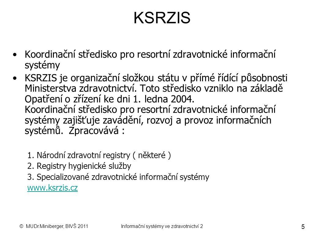 © MUDr.Miniberger, BIVŠ 2011Informační systémy ve zdravotnictví 2 5 KSRZIS Koordinační středisko pro resortní zdravotnické informační systémy KSRZIS je organizační složkou státu v přímé řídící působnosti Ministerstva zdravotnictví.