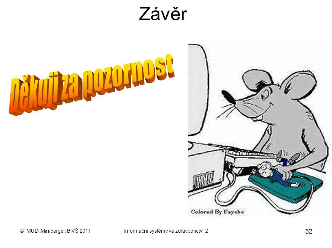 © MUDr.Miniberger, BIVŠ 2011Informační systémy ve zdravotnictví 2 51 Zdroje : Biomedicínská informatika – část I. Základy informatiky pro medicínu a z