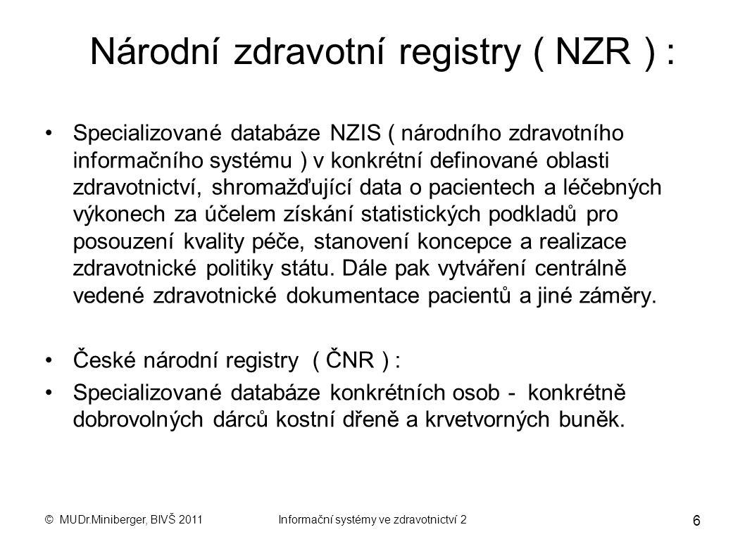 © MUDr.Miniberger, BIVŠ 2011Informační systémy ve zdravotnictví 2 5 KSRZIS Koordinační středisko pro resortní zdravotnické informační systémy KSRZIS j