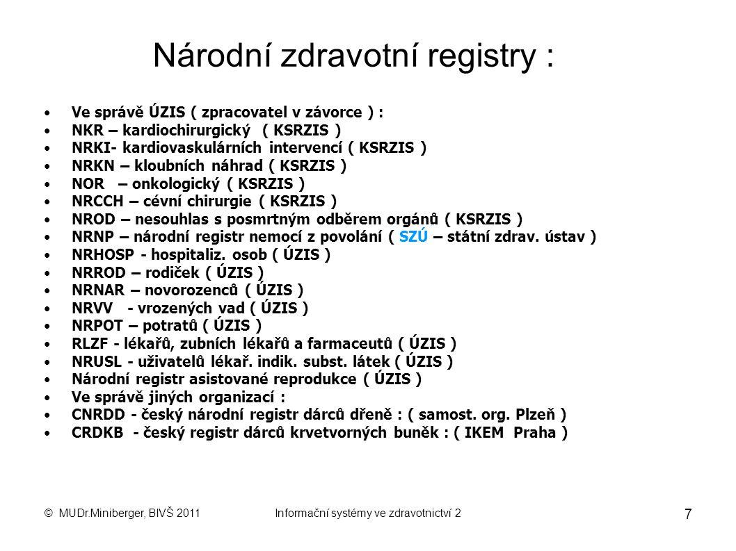 © MUDr.Miniberger, BIVŠ 2011Informační systémy ve zdravotnictví 2 7 Národní zdravotní registry : Ve správě ÚZIS ( zpracovatel v závorce ) : NKR – kardiochirurgický ( KSRZIS ) NRKI- kardiovaskulárních intervencí ( KSRZIS ) NRKN – kloubních náhrad ( KSRZIS ) NOR – onkologický ( KSRZIS ) NRCCH – cévní chirurgie ( KSRZIS ) NROD – nesouhlas s posmrtným odběrem orgánů ( KSRZIS ) NRNP – národní registr nemocí z povolání ( SZÚ – státní zdrav.