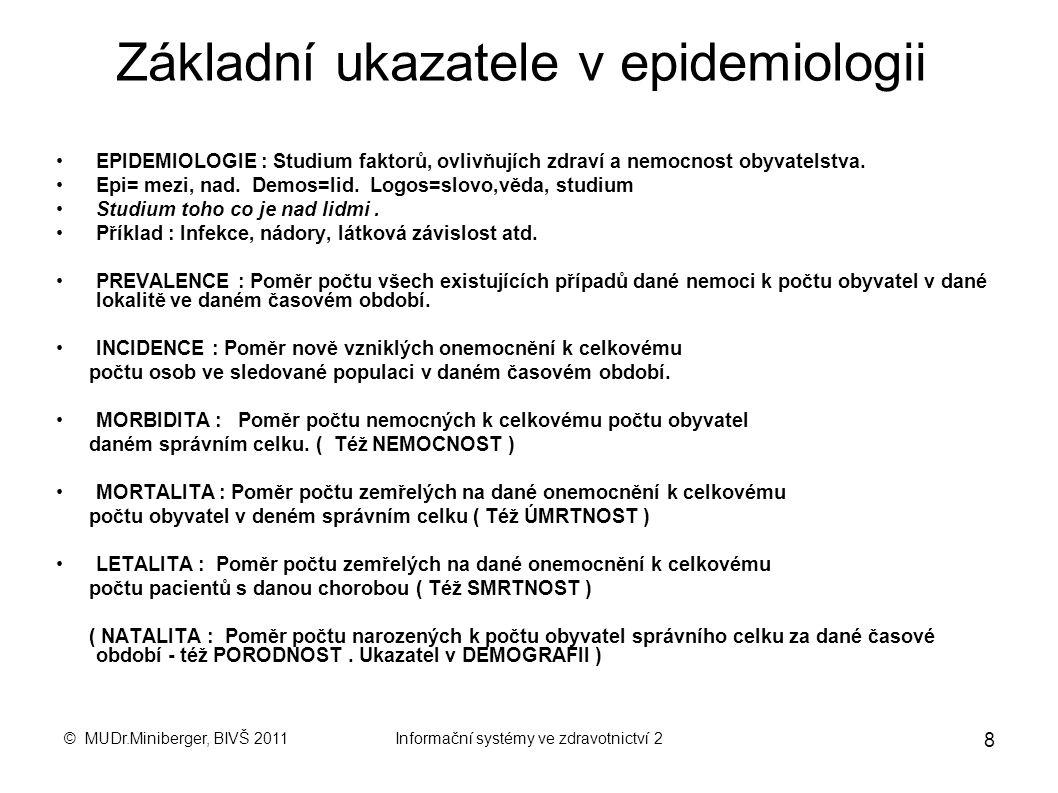 © MUDr.Miniberger, BIVŠ 2011Informační systémy ve zdravotnictví 2 8 Základní ukazatele v epidemiologii EPIDEMIOLOGIE : Studium faktorů, ovlivňujích zdraví a nemocnost obyvatelstva.
