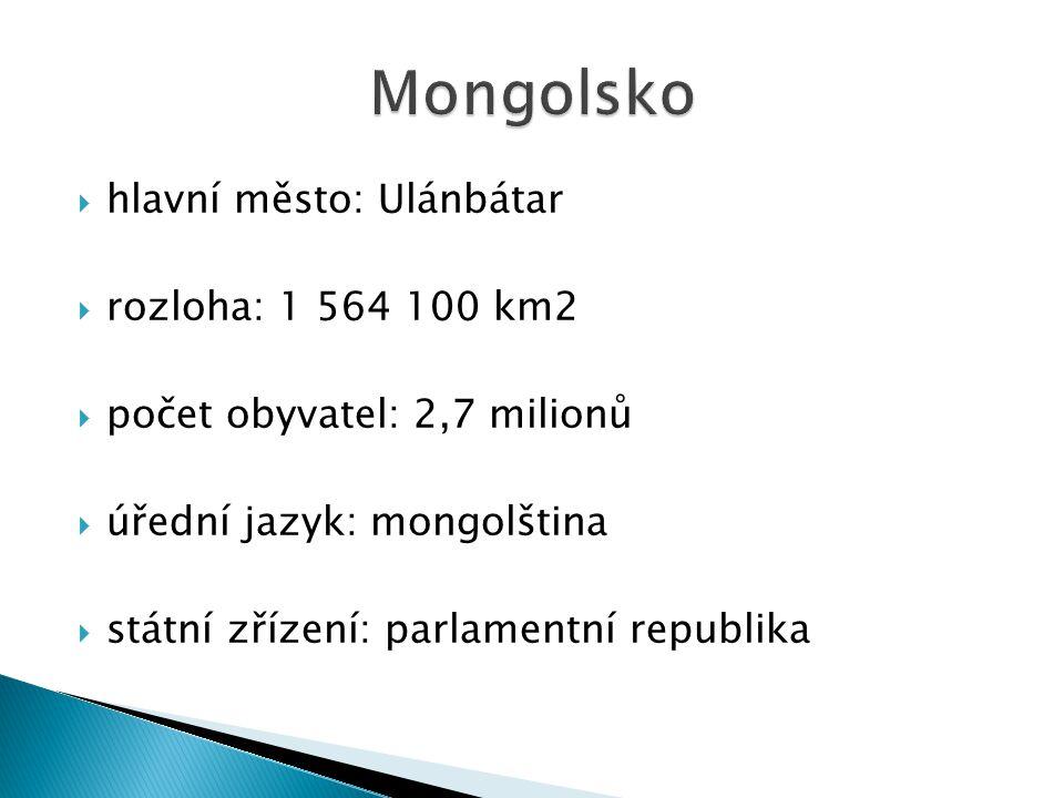  hlavní město: Ulánbátar  rozloha: 1 564 100 km2  počet obyvatel: 2,7 milionů  úřední jazyk: mongolština  státní zřízení: parlamentní republika