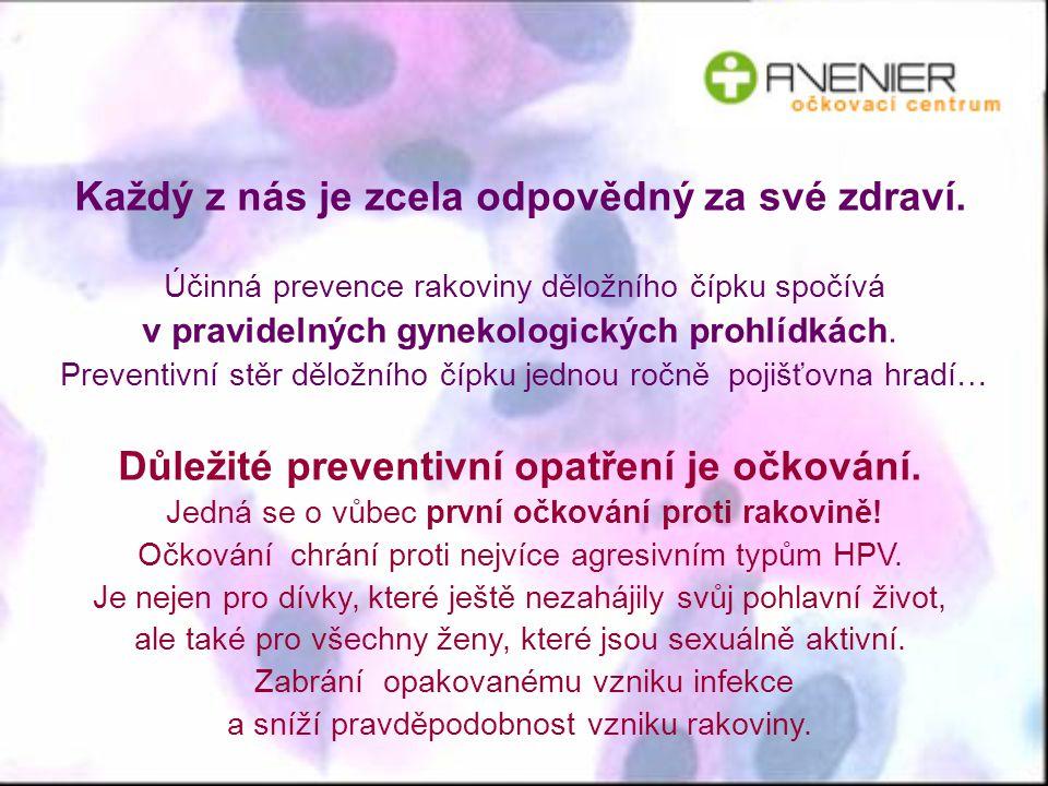 Každý z nás je zcela odpovědný za své zdraví. Účinná prevence rakoviny děložního čípku spočívá v pravidelných gynekologických prohlídkách. Preventivní