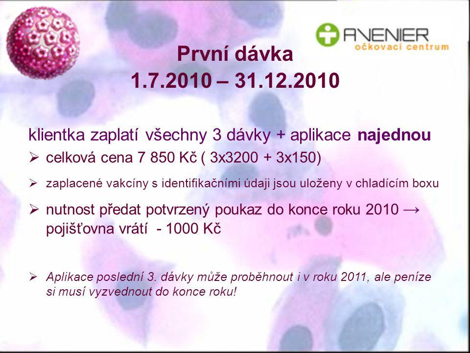 První dávka 1.7.2010 – 31.12.2010 klientka zaplatí všechny 3 dávky + aplikace najednou  celková cena 7 850 Kč ( 3x3200 + 3x150)  zaplacené vakcíny s