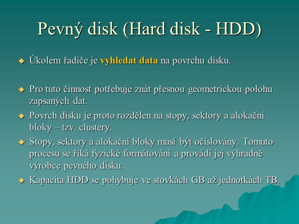 Pevný disk (Hard disk - HDD)  Úkolem řadiče je vyhledat data na povrchu disku.  Pro tuto činnost potřebuje znát přesnou geometrickou polohu zapsanýc
