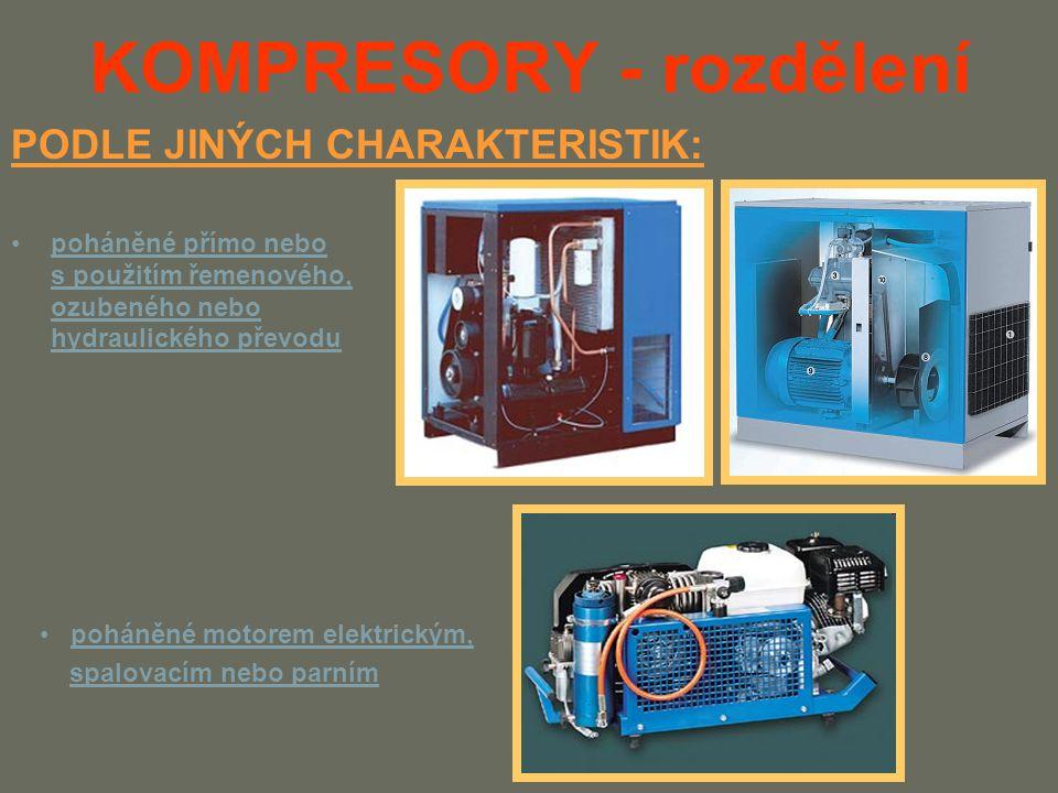KOMPRESORY - rozdělení poháněné přímo nebo s použitím řemenového, ozubeného nebo hydraulického převodu PODLE JINÝCH CHARAKTERISTIK: poháněné motorem elektrickým, spalovacím nebo parním
