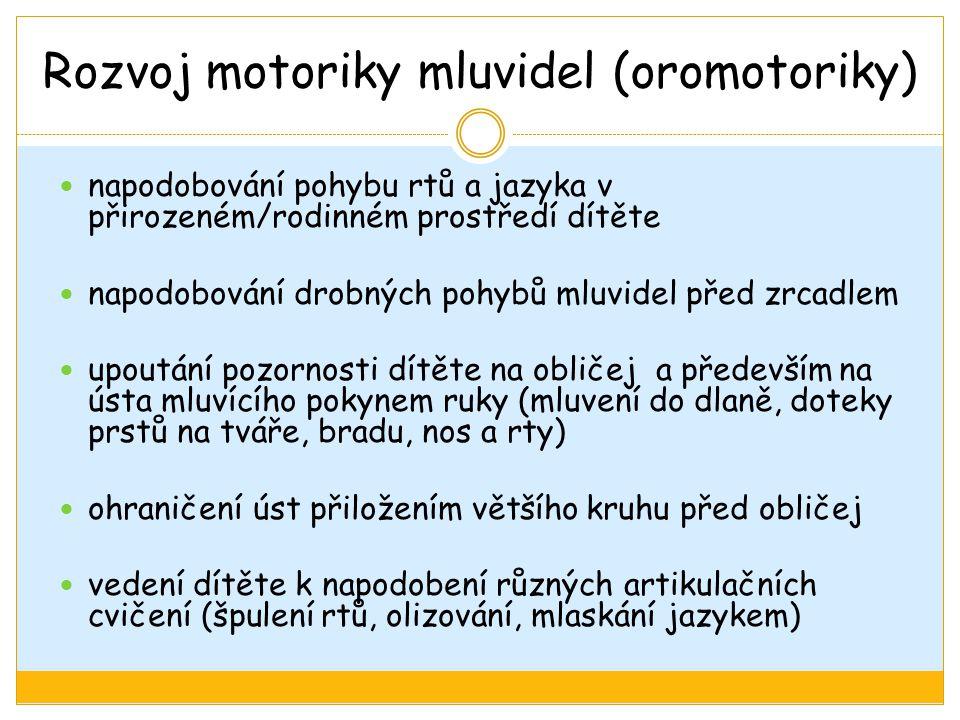 Rozvoj motoriky mluvidel (oromotoriky) napodobování pohybu rtů a jazyka v přirozeném/rodinném prostředí dítěte napodobování drobných pohybů mluvidel p