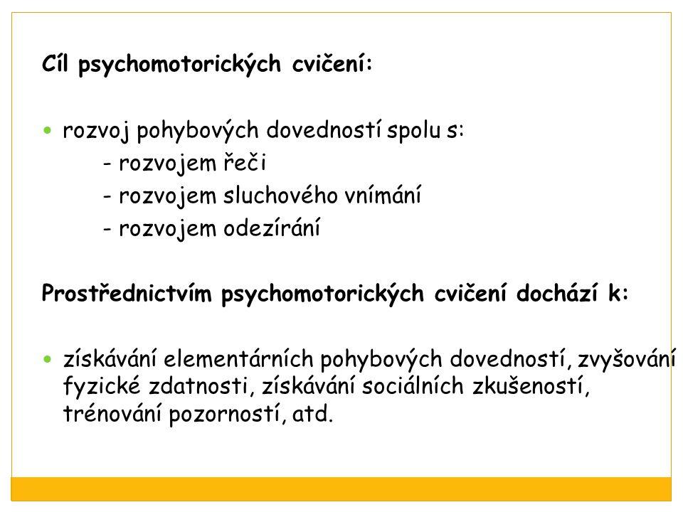 Cíl psychomotorických cvičení: rozvoj pohybových dovedností spolu s: - rozvojem řeči - rozvojem sluchového vnímání - rozvojem odezírání Prostřednictví