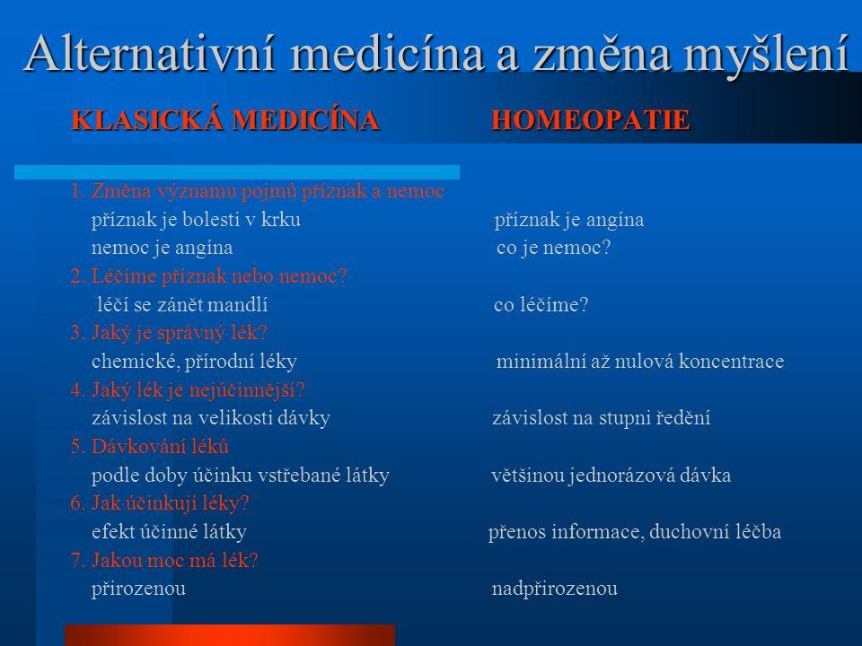 Alternativní medicína a změna myšlení Alternativní medicína a změna myšlení KLASICKÁ MEDICÍNA HOMEOPATIE 1. Změna významu pojmů příznak a nemoc přízna