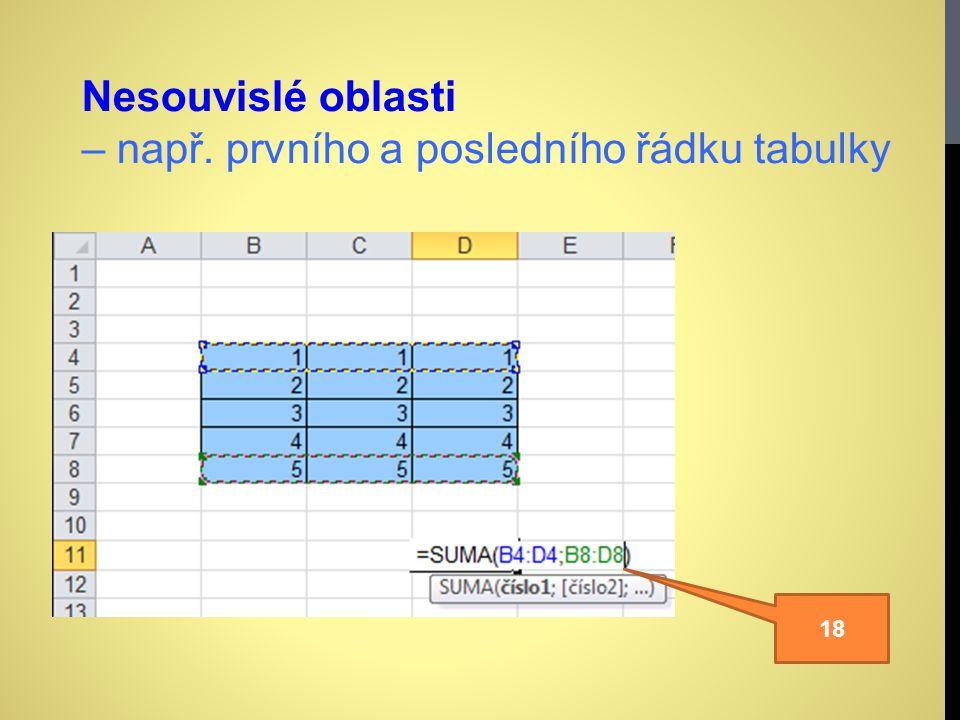 Nesouvislé oblasti – např. prvního a posledního řádku tabulky 18