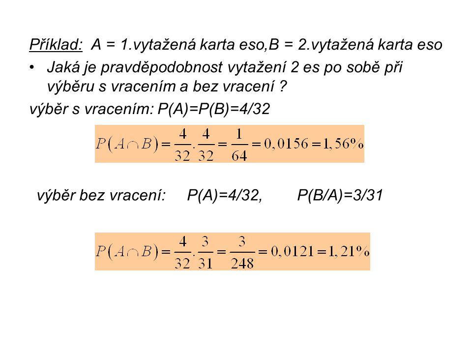 Příklad: A = 1.vytažená karta eso,B = 2.vytažená karta eso Jaká je pravděpodobnost vytažení 2 es po sobě při výběru s vracením a bez vracení ? výběr s