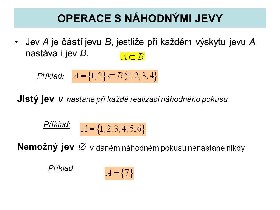 OPERACE S NÁHODNÝMI JEVY Jev A je částí jevu B, jestliže při každém výskytu jevu A nastává i jev B. Jistý jev V nastane při každé realizaci náhodného