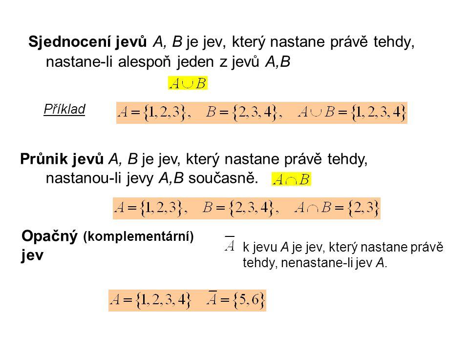 Sjednocení jevů A, B je jev, který nastane právě tehdy, nastane-li alespoň jeden z jevů A,B Průnik jevů A, B je jev, který nastane právě tehdy, nastan
