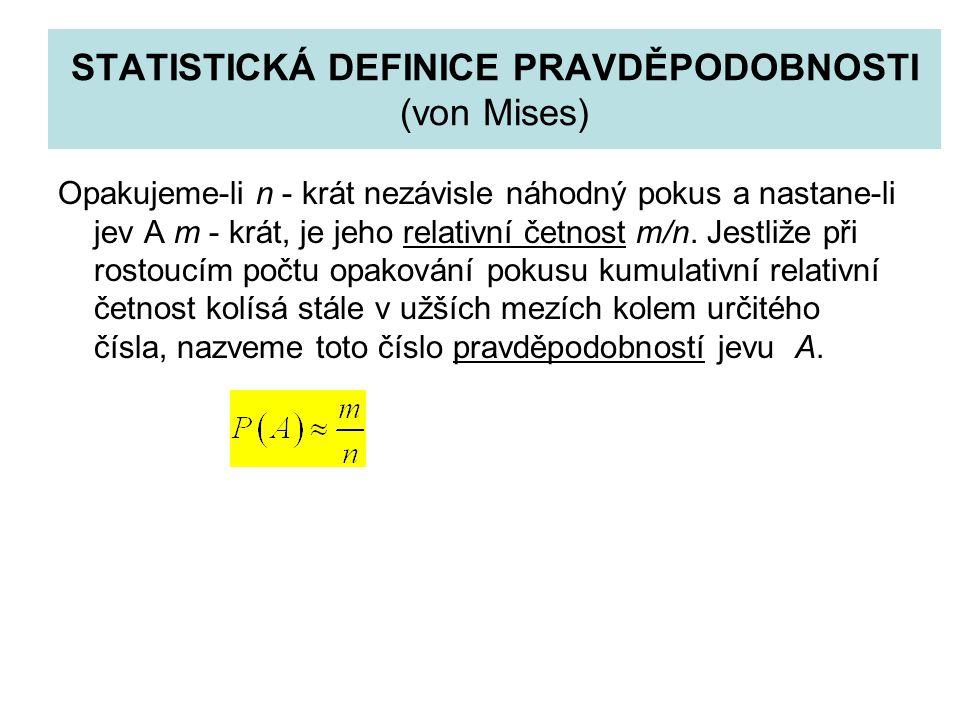 AXIOMATICKÁ DEFINICE PRAVDĚPODOBNOSTI (Kolmogorov) A1: Každému jevu A je přiřazena hodnota P(A), která se nazývá pravděpodobnost jevu A A2: Pro pravděpodobnost jistého jevu V platí A3: Pro neslučitelné jevy A, B platí