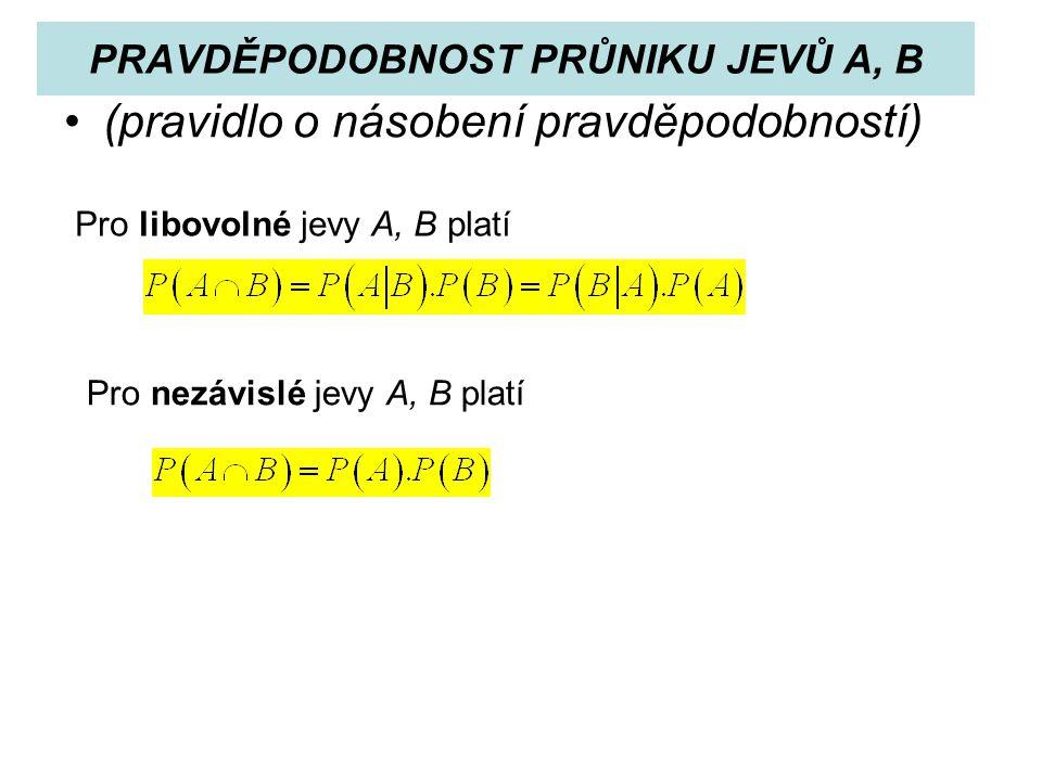 PRAVDĚPODOBNOST PRŮNIKU JEVŮ A, B (pravidlo o násobení pravděpodobností) Pro libovolné jevy A, B platí Pro nezávislé jevy A, B platí