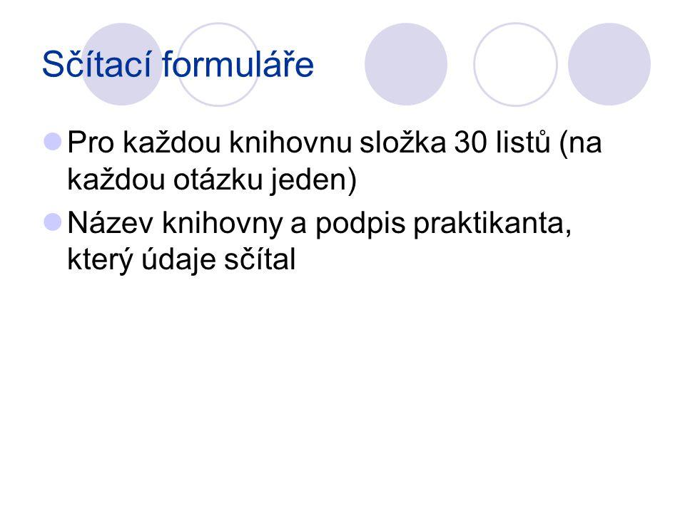 Sčítací formuláře Pro každou knihovnu složka 30 listů (na každou otázku jeden) Název knihovny a podpis praktikanta, který údaje sčítal