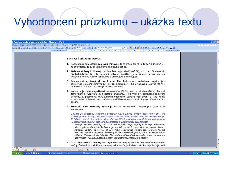 Vyhodnocení průzkumu – ukázka textu