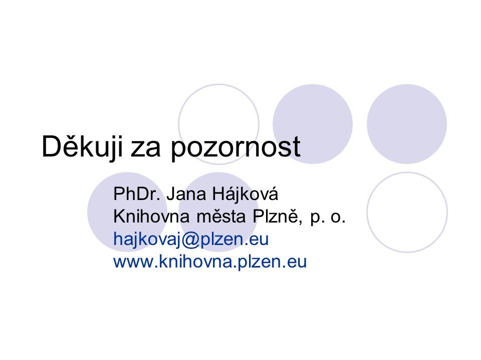 Děkuji za pozornost PhDr. Jana Hájková Knihovna města Plzně, p. o. hajkovaj@plzen.eu www.knihovna.plzen.eu