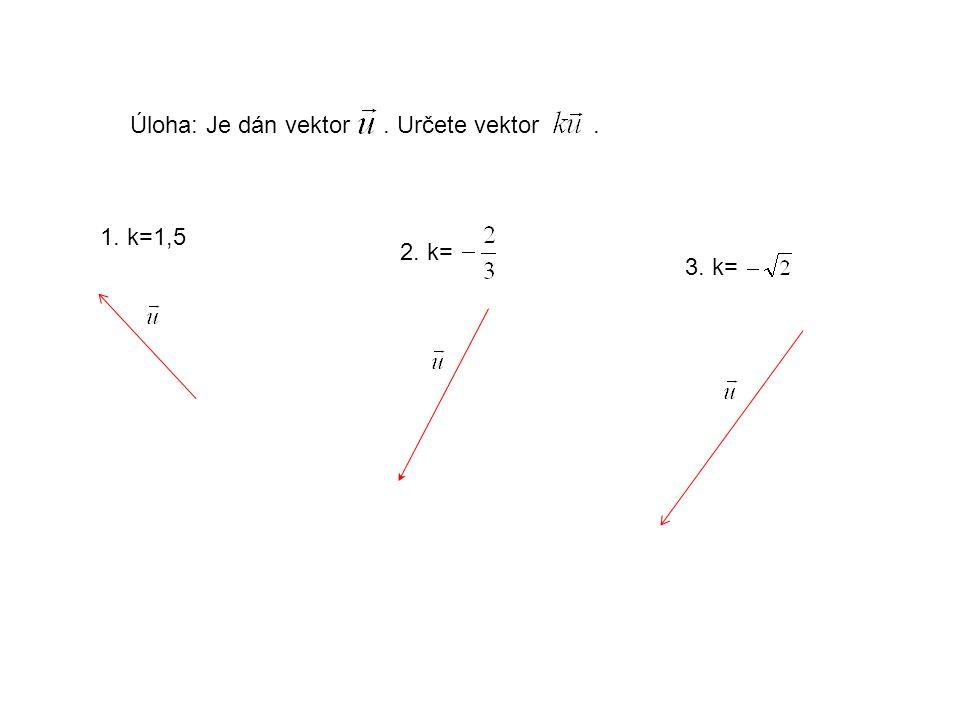 Úloha: Je dán vektor. Určete vektor. 1. k=1,5 2. k= 3. k=