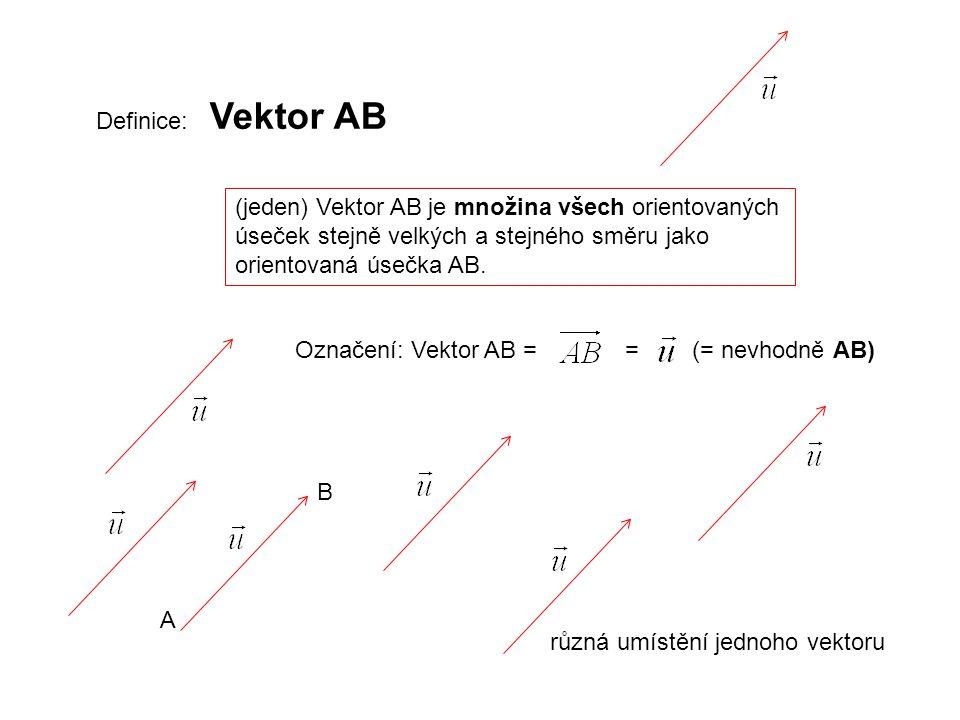 Definice: Vektor AB (jeden) Vektor AB je množina všech orientovaných úseček stejně velkých a stejného směru jako orientovaná úsečka AB. Označení: Vekt