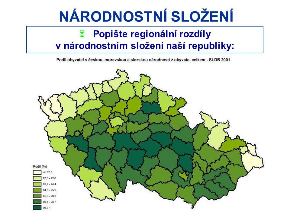 NÁRODNOSTNÍ SLOŽENÍ  Popište regionální rozdíly v národnostním složení naší republiky: