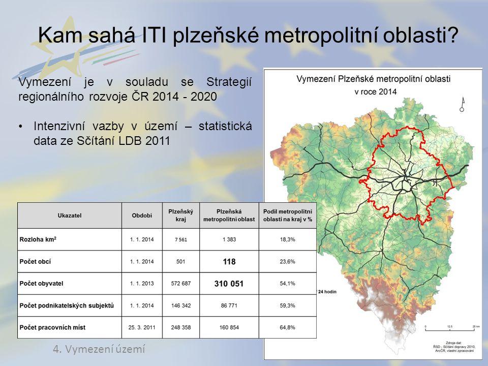 Kam sahá ITI plzeňské metropolitní oblasti? 4. Vymezení území Vymezení je v souladu se Strategií regionálního rozvoje ČR 2014 - 2020 Intenzivní vazby