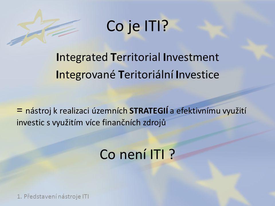 Co je ITI? Integrated Territorial Investment Integrované Teritoriální Investice = nástroj k realizaci územních STRATEGIÍ a efektivnímu využití investi