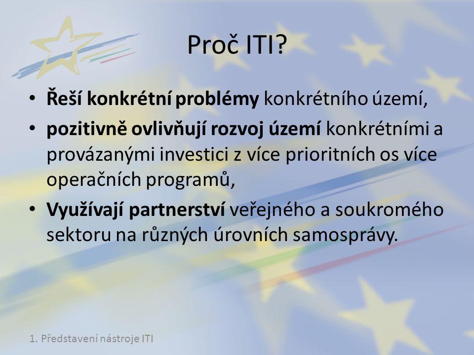 Proč ITI? Řeší konkrétní problémy konkrétního území, pozitivně ovlivňují rozvoj území konkrétními a provázanými investici z více prioritních os více o