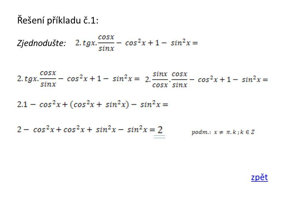 Řešení příkladu č.2: Zjednodušte: zpět