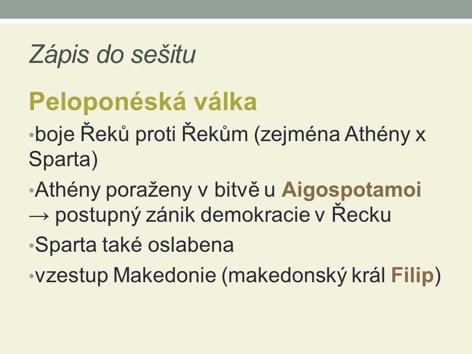 Zápis do sešitu Peloponéská válka boje Řeků proti Řekům (zejména Athény x Sparta) Athény poraženy v bitvě u Aigospotamoi → postupný zánik demokracie v