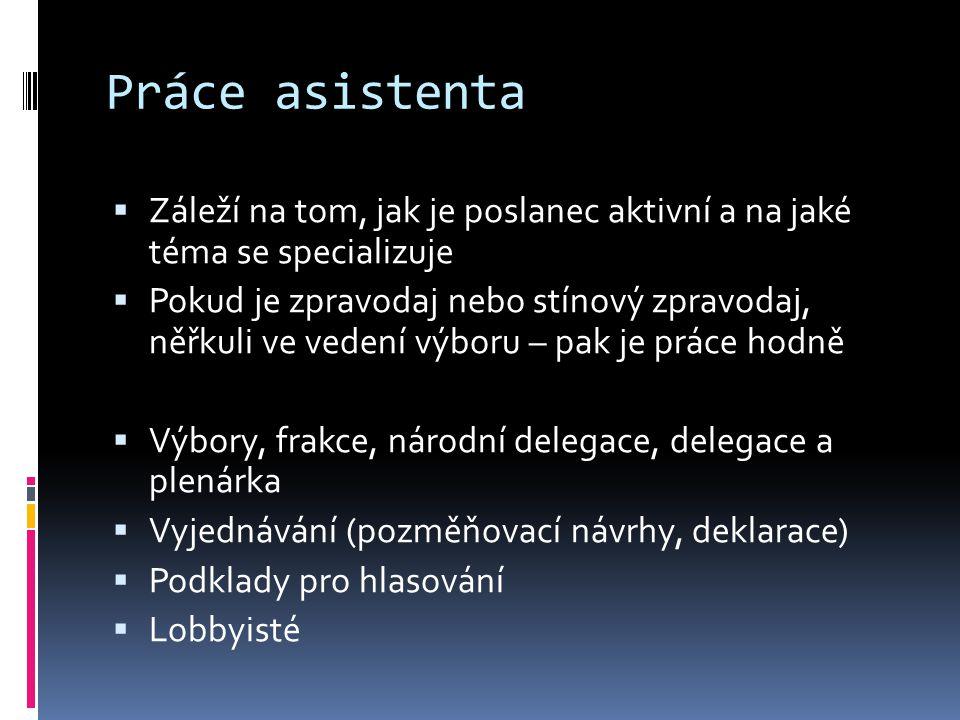 Práce asistenta  Záleží na tom, jak je poslanec aktivní a na jaké téma se specializuje  Pokud je zpravodaj nebo stínový zpravodaj, něřkuli ve vedení výboru – pak je práce hodně  Výbory, frakce, národní delegace, delegace a plenárka  Vyjednávání (pozměňovací návrhy, deklarace)  Podklady pro hlasování  Lobbyisté