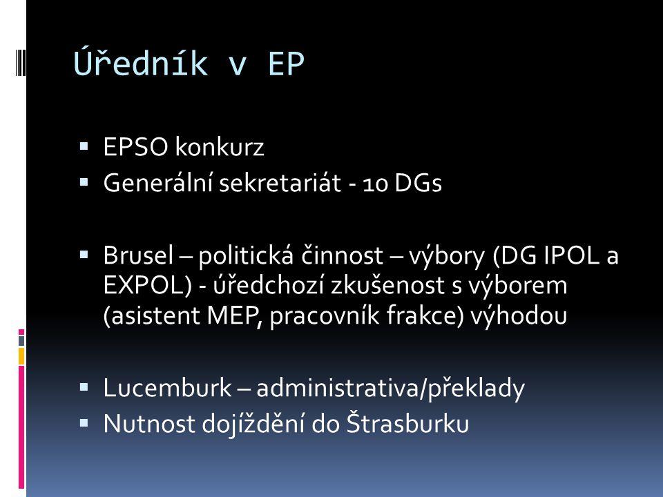 Úředník v EP  EPSO konkurz  Generální sekretariát - 10 DGs  Brusel – politická činnost – výbory (DG IPOL a EXPOL) - úředchozí zkušenost s výborem (asistent MEP, pracovník frakce) výhodou  Lucemburk – administrativa/překlady  Nutnost dojíždění do Štrasburku