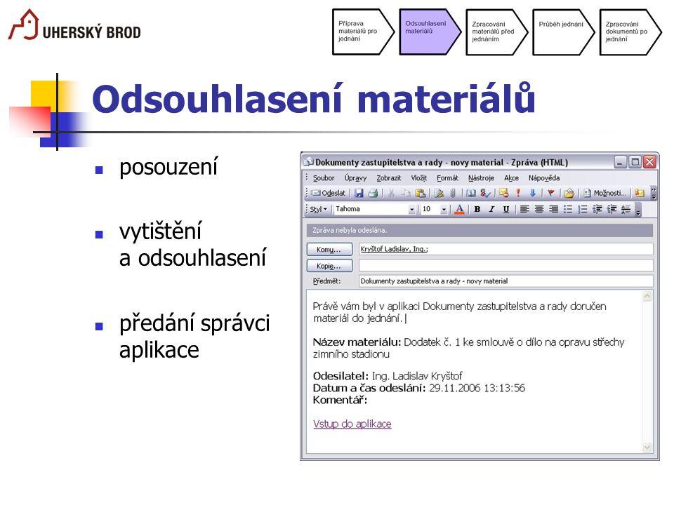Odsouhlasení materiálů posouzení vytištění a odsouhlasení předání správci aplikace