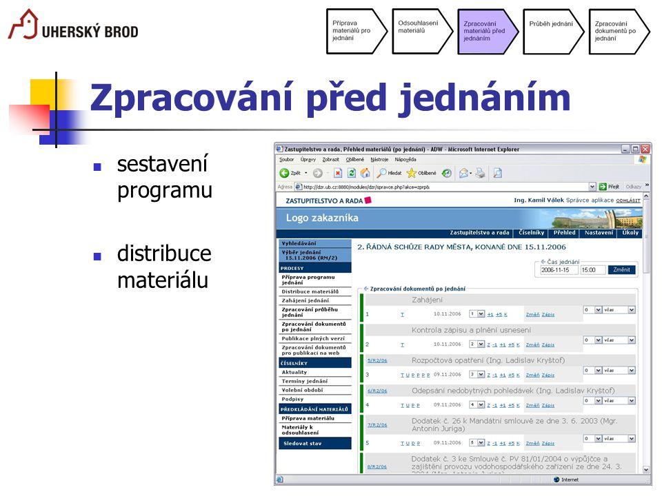 Zpracování před jednáním sestavení programu distribuce materiálu