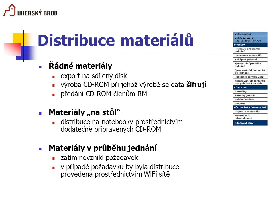 """Distribuce materiálů Řádné materiály export na sdílený disk výroba CD-ROM při jehož výrobě se data šifrují předání CD-ROM členům RM Materiály """"na stůl"""