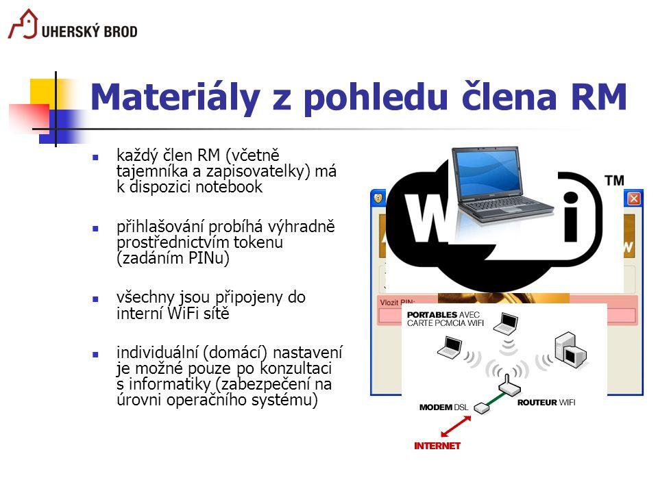 Materiály z pohledu člena RM každý člen RM (včetně tajemníka a zapisovatelky) má k dispozici notebook přihlašování probíhá výhradně prostřednictvím to