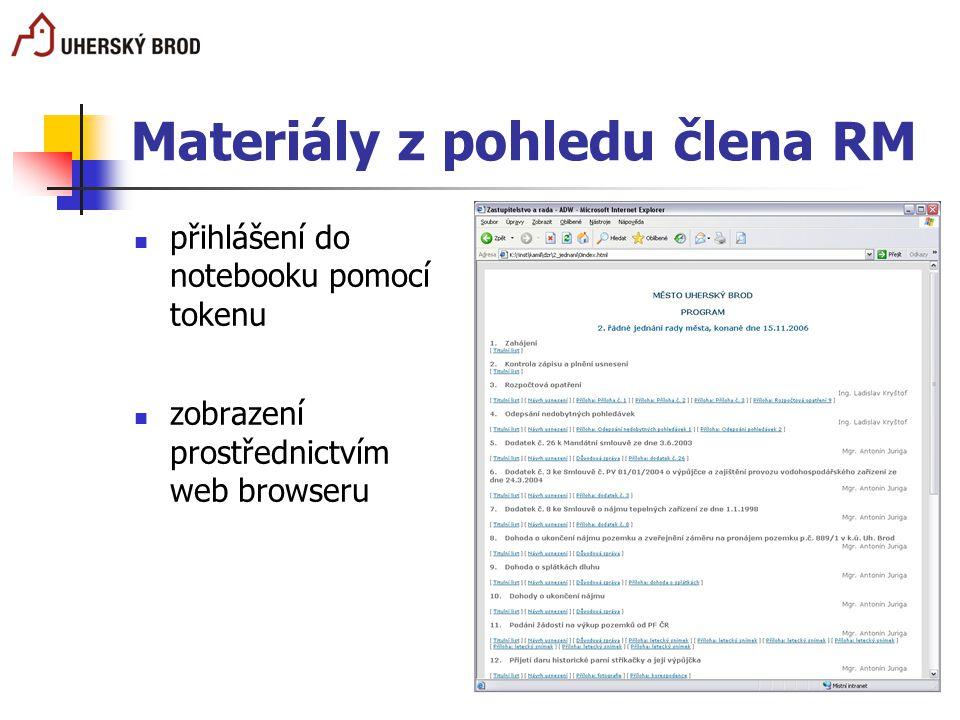 Materiály z pohledu člena RM přihlášení do notebooku pomocí tokenu zobrazení prostřednictvím web browseru
