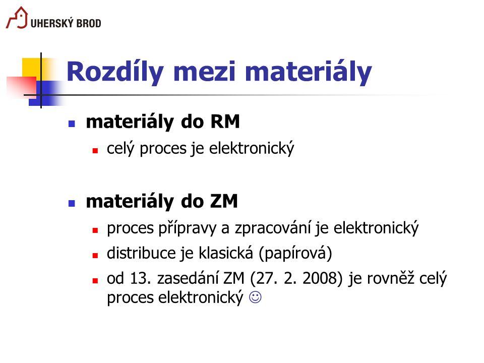 Rozdíly mezi materiály materiály do RM celý proces je elektronický materiály do ZM proces přípravy a zpracování je elektronický distribuce je klasická
