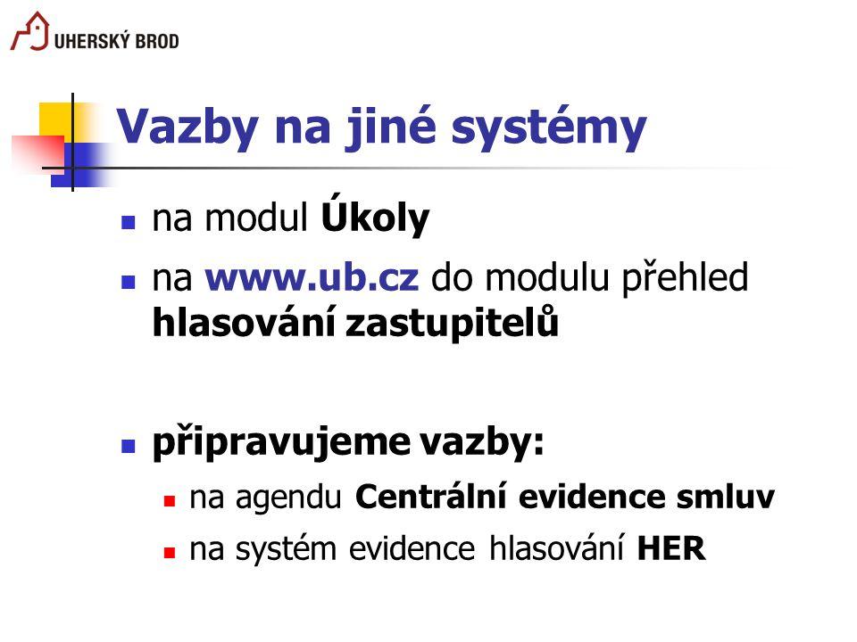 Vazby na jiné systémy na modul Úkoly na www.ub.cz do modulu přehled hlasování zastupitelů připravujeme vazby: na agendu Centrální evidence smluv na sy