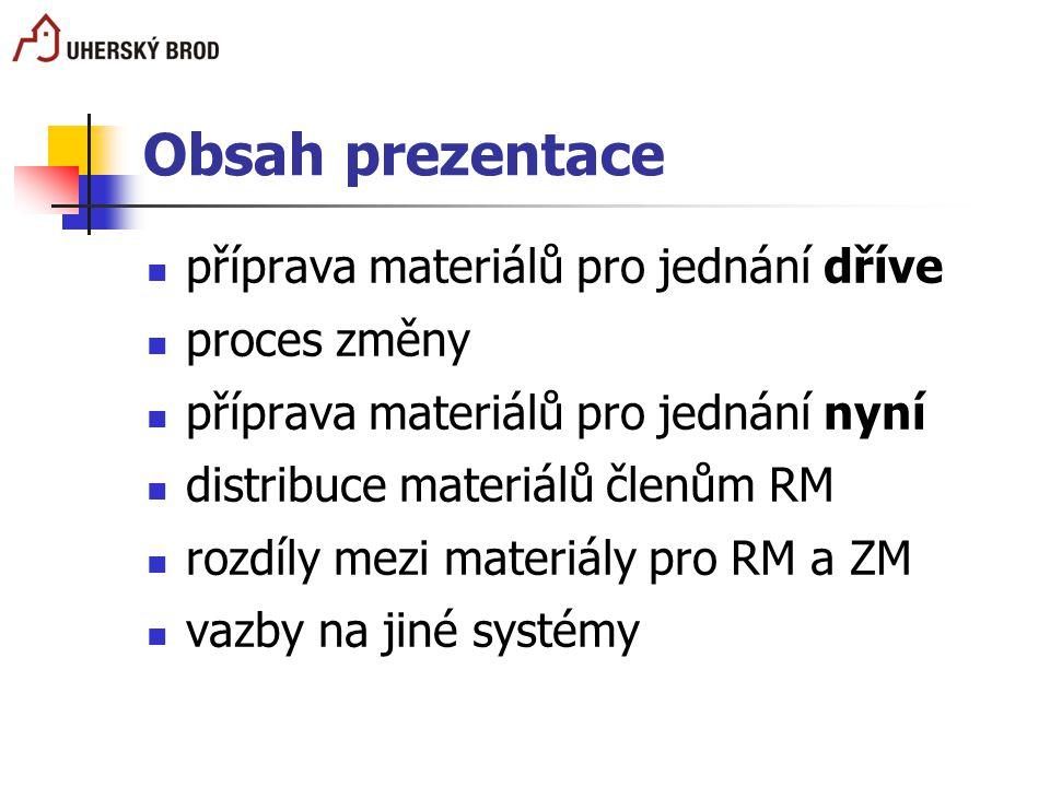 Obsah prezentace příprava materiálů pro jednání dříve proces změny příprava materiálů pro jednání nyní distribuce materiálů členům RM rozdíly mezi mat