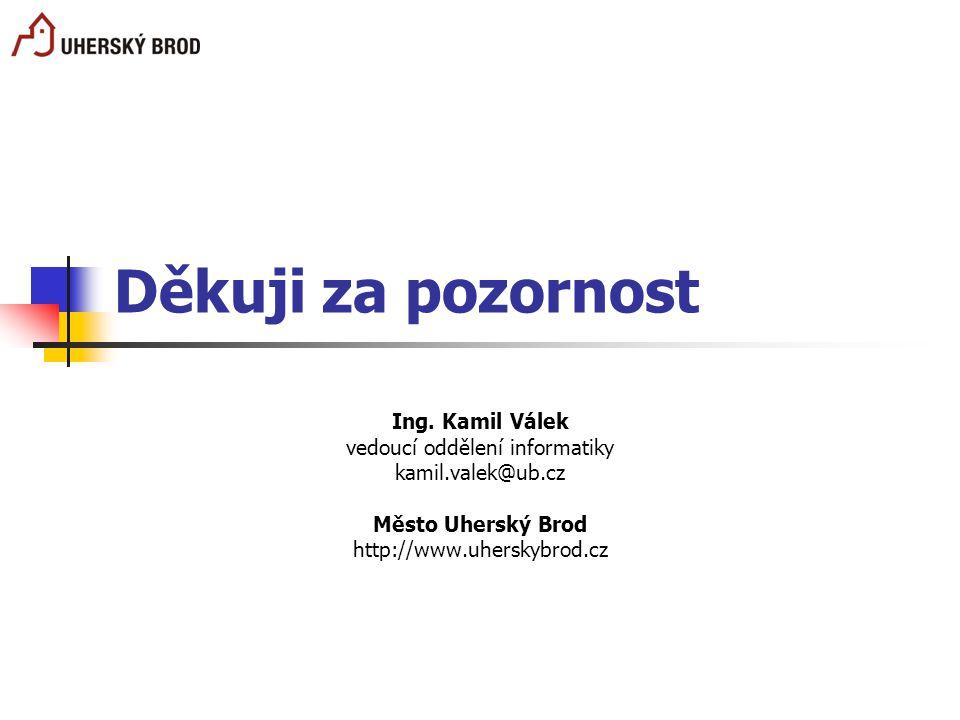 Děkuji za pozornost Ing. Kamil Válek vedoucí oddělení informatiky kamil.valek@ub.cz Město Uherský Brod http://www.uherskybrod.cz