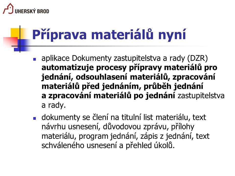 Příprava materiálů nyní aplikace Dokumenty zastupitelstva a rady (DZR) automatizuje procesy přípravy materiálů pro jednání, odsouhlasení materiálů, zp