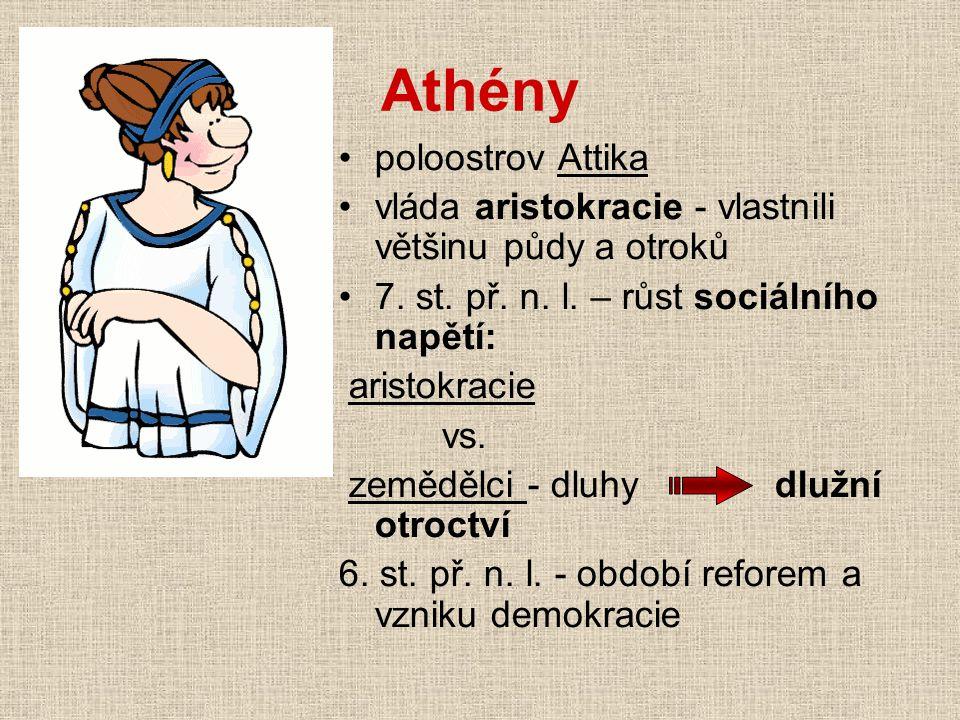 Athény poloostrov Attika vláda aristokracie - vlastnili většinu půdy a otroků 7. st. př. n. l. – růst sociálního napětí: aristokracie vs. zemědělci -