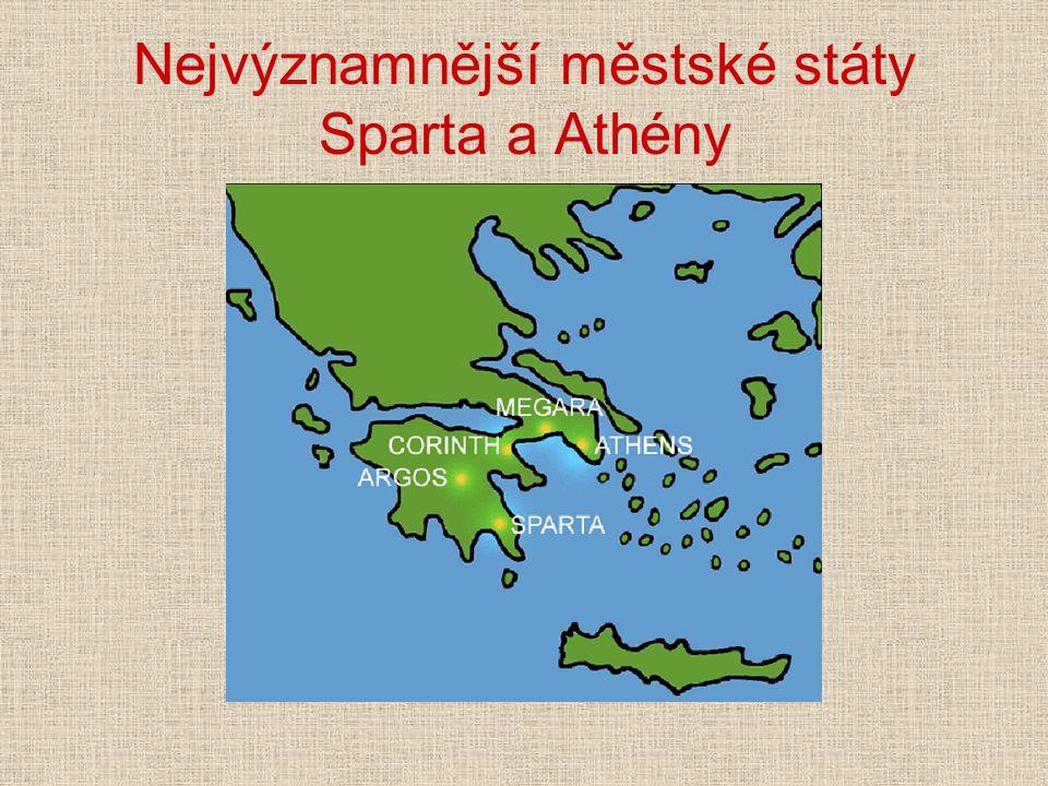"""Sparta jihovýchodní část Peloponésu (""""Laokónie ) svobodní Sparťané = Lakedaimoňané Obyvatelstvo: 1) plnoprávní Sparťané asi 1/10 obyvatelstva, Dórové, kteří si podmanili původní obyvatelstvo, Acháje vojáci"""