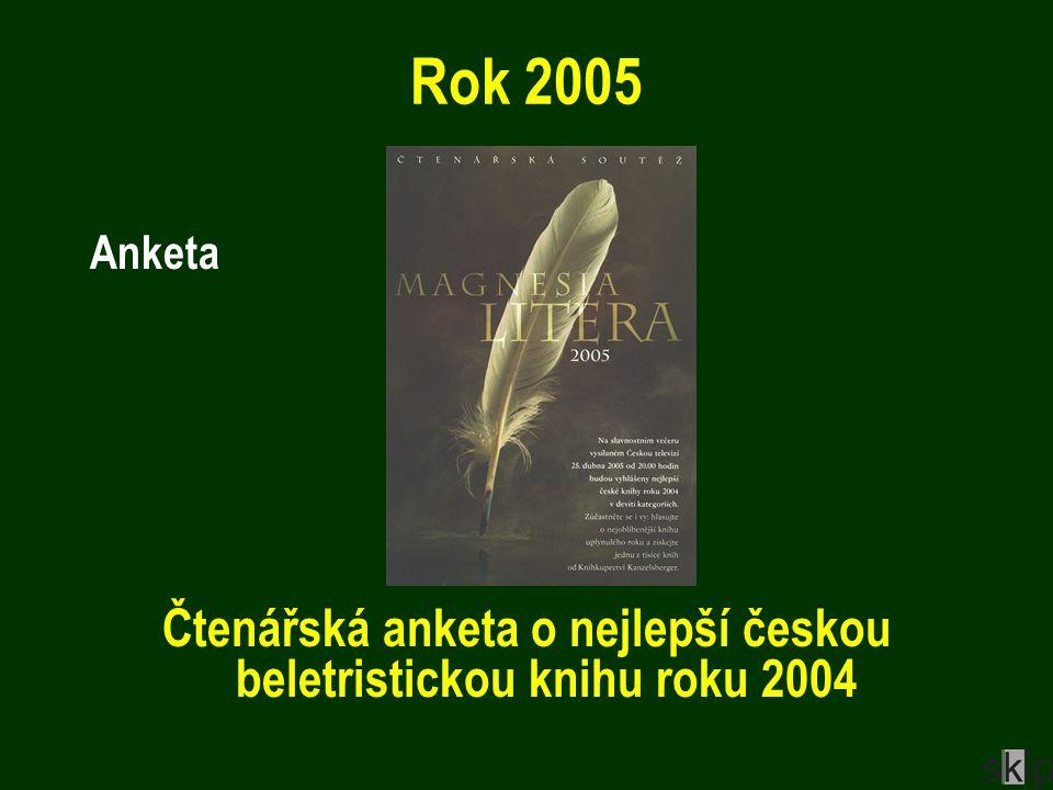Rok 2005 Anketa Čtenářská anketa o nejlepší českou beletristickou knihu roku 2004